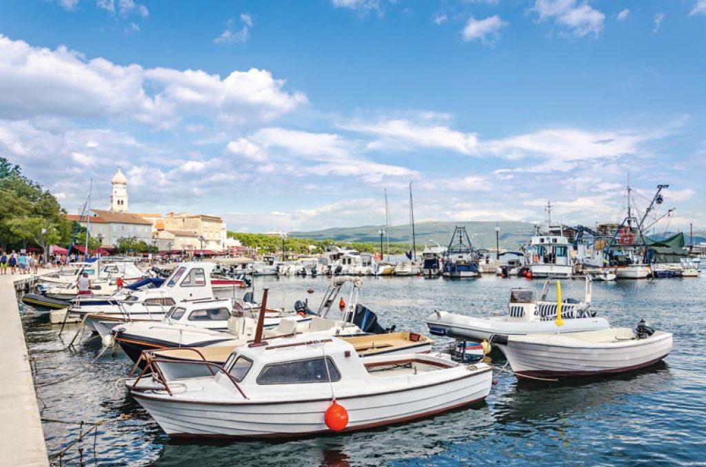 Harbor in Krk Town, Island Krk in Croatia